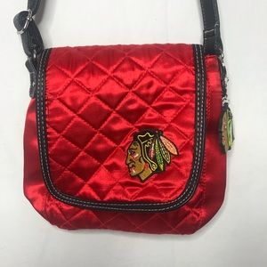 Chicago Blackhawks Red Quilted Crossbody Bag Purse